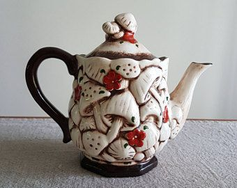 1970s Teapot with fabulous relief mushrooms & red flowers / boho, bohemian, retro kitchen, merry mushrooms, toadstools, pottery, tea pot