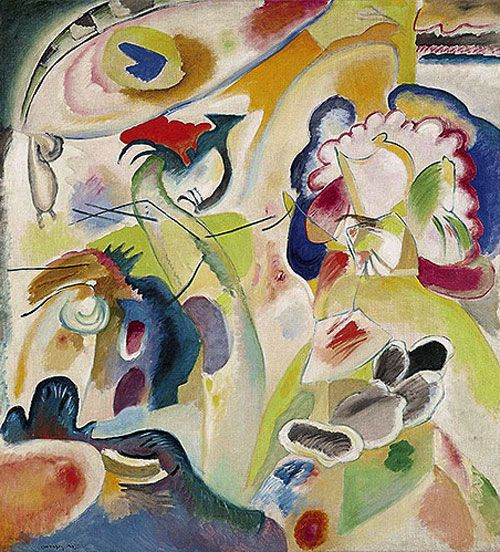 IMPROVISATION #29 (THE SWAN), 1912 Oil on canvas Philadelphia. USA. Philadelphia Museum of Art In 1908-1909, after fully understanding and being through with symbolism and fauvism, Kandinsky begins getting rid of any art movements' influences and, groping, finds his own way. This process, first of all, meant for him freeing the colour, shapes and lines from concreteness. People, houses and landscapes in his paintings become less and less recognizable, more and more abstract. First Abstract…