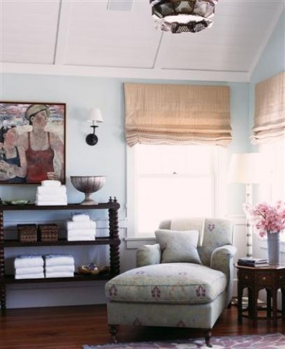 Classic pieces, eclectic global feel: Chai Lounges, Ceilings Treatments, Chaise Lounges, Reading Nooks, Atlanta Home, Bath Beautiful, Bedrooms Color, Beaches House Bathroom, Malibu Beaches