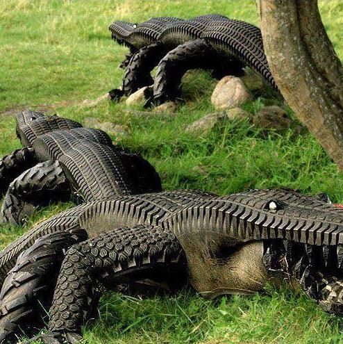 Garden Alligators made from Recycled tires