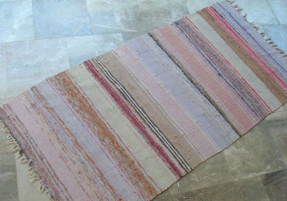 Pastels lilacs, pinks, greens.... Antique Rag Rug  Pastels Greens Pinks Purple by VintageHomeStories,