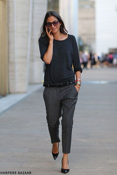 slouch in tapered trousers