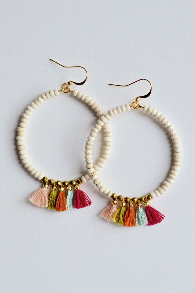 | Summer Tassel Earrings | $20 | Foi Clothing | Accessories | Beaded Tassel Multi Color | Sale Earrings | Hoop Beaded Summer Earrings |