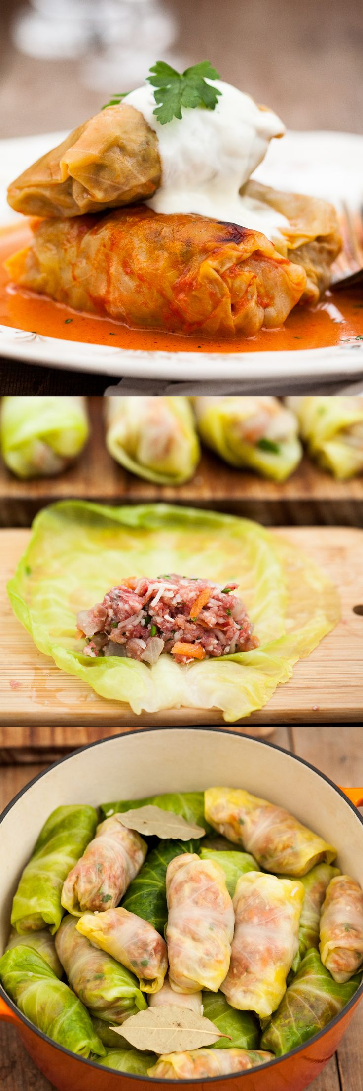 Russian Cabbage Rolls stuffed with extra lean beef, rice and veggies and baked in a creamy tomato sauce. Comfort food at its best.