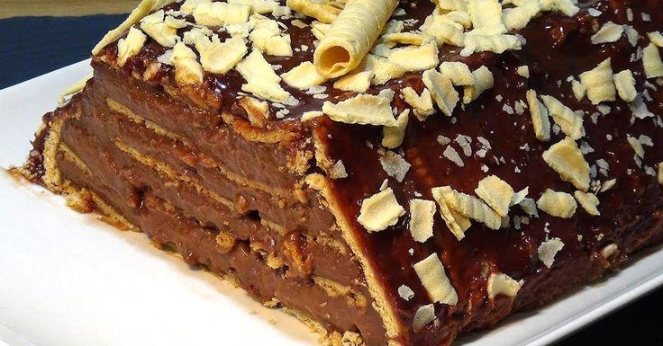 Tarta flan de Nutella con galletas súper fácil