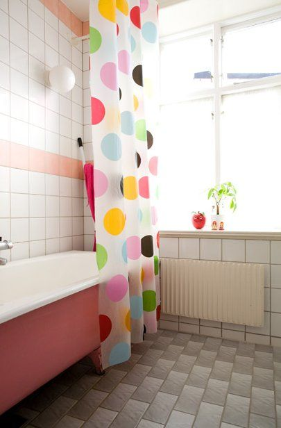 kids bathroom polka dot curtain could work
