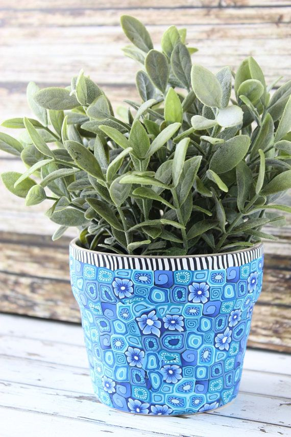 Blue Planter Plant Container Indoor Flower Pot Pover Gift Holder Decorative Easter Pots By