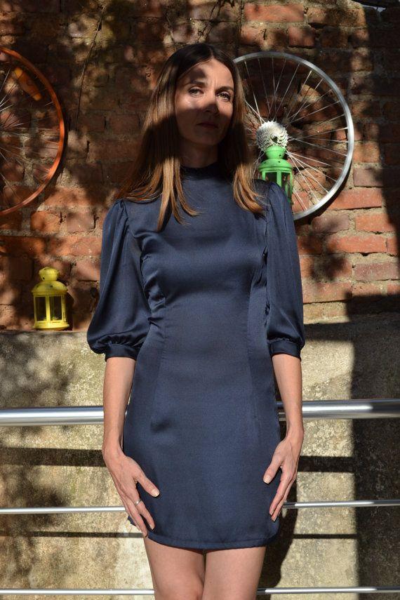 Dark Blue Elegant Dress, Coctail Dress, Sateen Dress, Short Dress, Skinny Fit Dress, Navy Blue Dress, Neckband