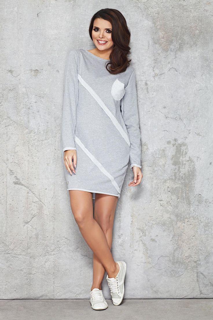 Grey, daily basis, pocketed, mini Molly dress.