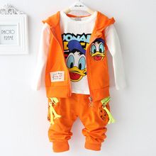 2015 nuovo arriver cotone autunno insieme dei vestiti del bambino anatra vest + t shirt + pants bambini insieme dei vestiti del bambino della ragazza del ragazzo chothes(China (Mainland))