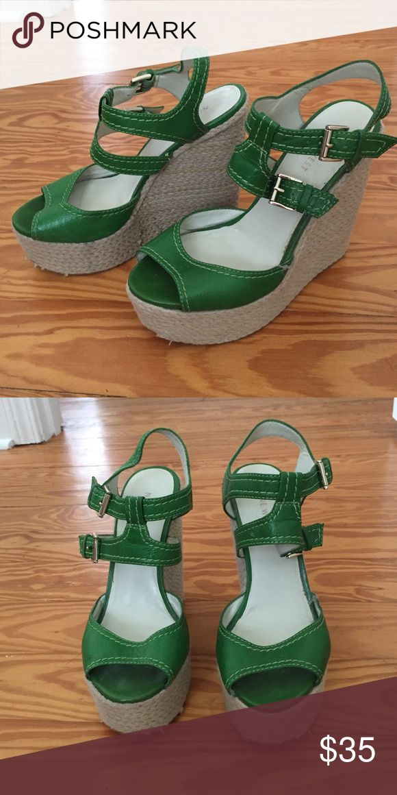 Espadrille Wedge Sandals Kelly green espadrille wedge sandals with double ankle buckles. Great condition. Nine West Shoes Wedges