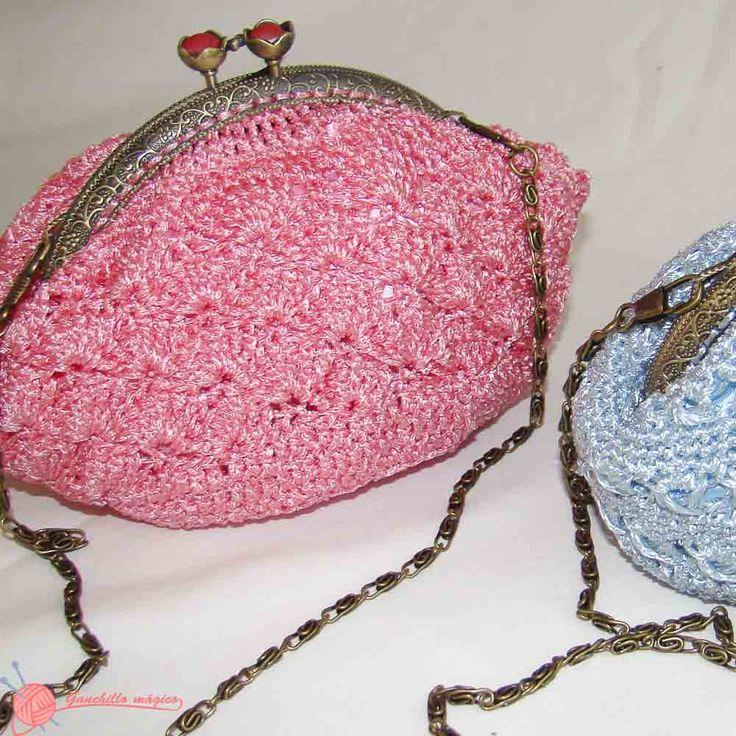 bolso de  fiesta ganchillo (2) pink bag
