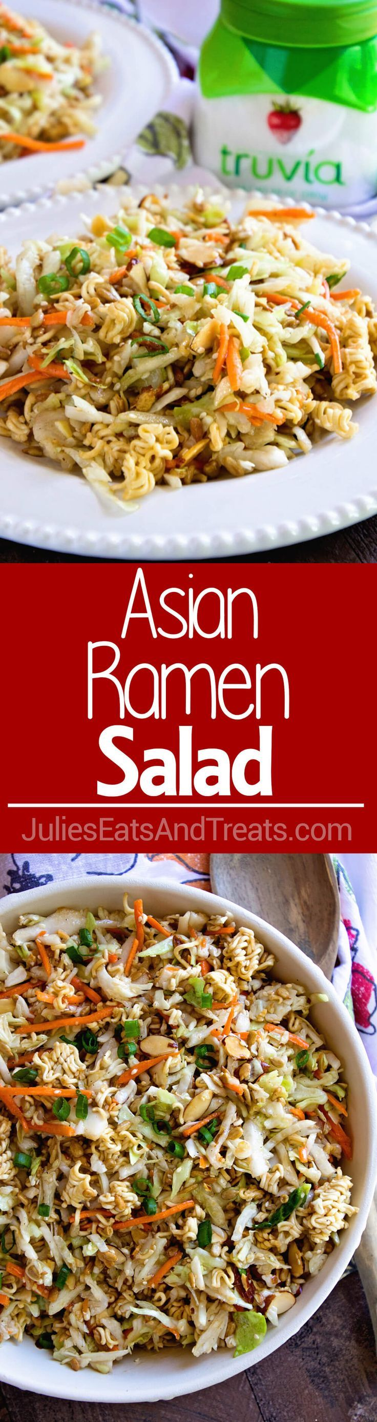 Asian Ramen Salad ~ Quick, Easy and Full of Flavor! It's the Perfect Potluck Salad and Only takes Minutes to Throw Together! Sweet, Savory and Delicious with the Perfect Amount of Crunch! @TruviaBrand