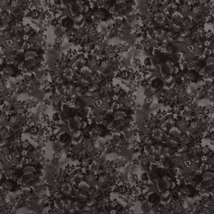 Black Faded Floral Cotton Calico Fabric