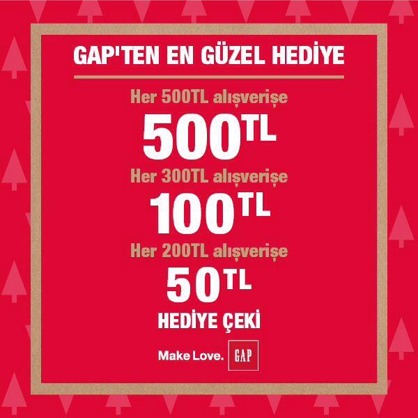 Gap'te Beklenen Yeni Yıl Heyecanı!  En güzel hediyeler için 200 TL'ye 50TL, 300TL'ye 100TL ve 500TL'ye 500TL Hediye Çeki fırsatı devam ediyor.Son gün 31 Aralık.  Mutlu Yıllar!