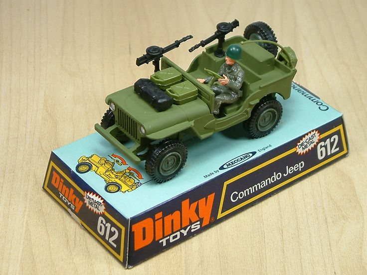 Dinky Toy Commando Jeep. Featured twin machine guns and extra body mounted kit than the regular Jeep. This diecast model was made between 1973 and 1980.