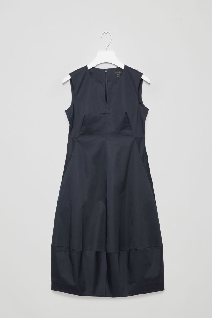 COS image 1 of Cocoon cotton dress in Navy
