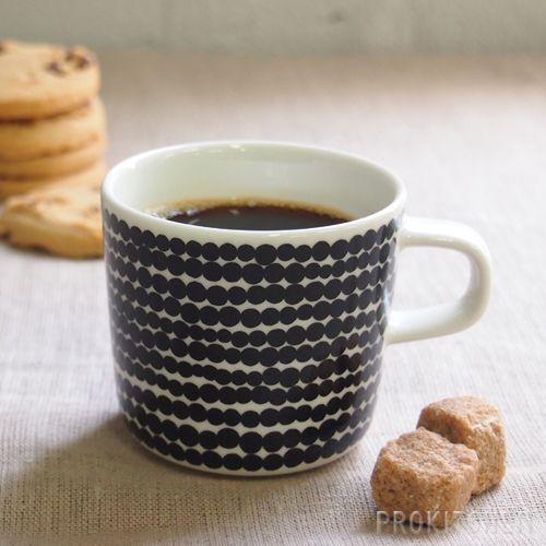 ■マリメッコ (marimekko) コーヒーカップ 200ml Siirtolapuutarha (市民菜園/Rasymatto) ブラック