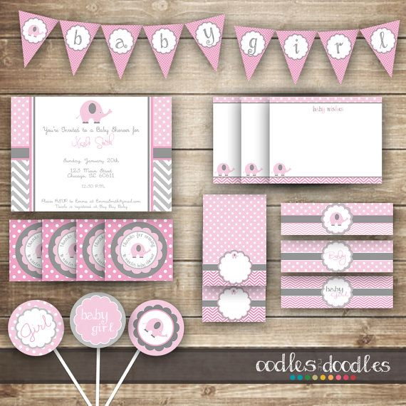 Elephant Baby Shower / Chevron & Polka Dots / Pink and Gray PARTY PACKAGE  / Baby Girl Party Kit - Printable on Etsy, $34.16 CAD