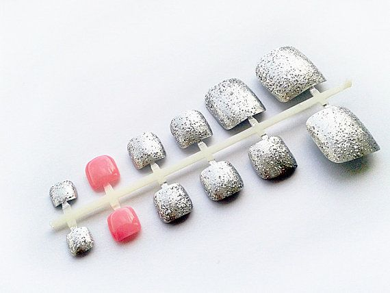 Silver  Pink False Toe Nails
