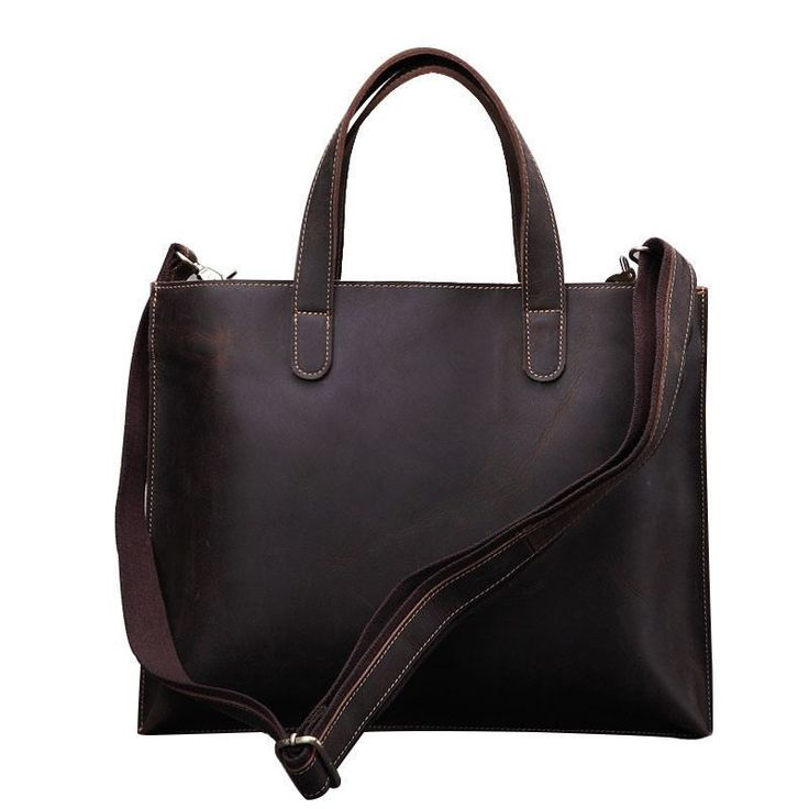 Men Vintage Business Style Handbag Genuine Leather Classic Briefcase Bag BROWN
