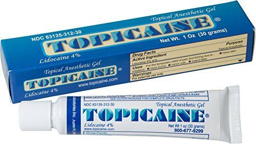 TOPICAINE 4%- Lidocaine Gel (30 grams) Anesthetic Skin Numbing Cream Numb Tattoo Laser Piercing Waxing FAST SHIPPING:   Topicaine 4 contains 4% Lidocaine making it the best choice to ease the pain of: Tattoos Tattoo Removal Waxing Minor Surgery for Injections Hair Removal Piercing Immunizations Shots Microdermabrasions Laser Hair Removal Botox Flu Vaccination Wart Removal Mole Removal Numbing Cream for Tattoo Numbing Cream for Tattoo Removal Numbing Cream for Waxing Numbing Cream for P...