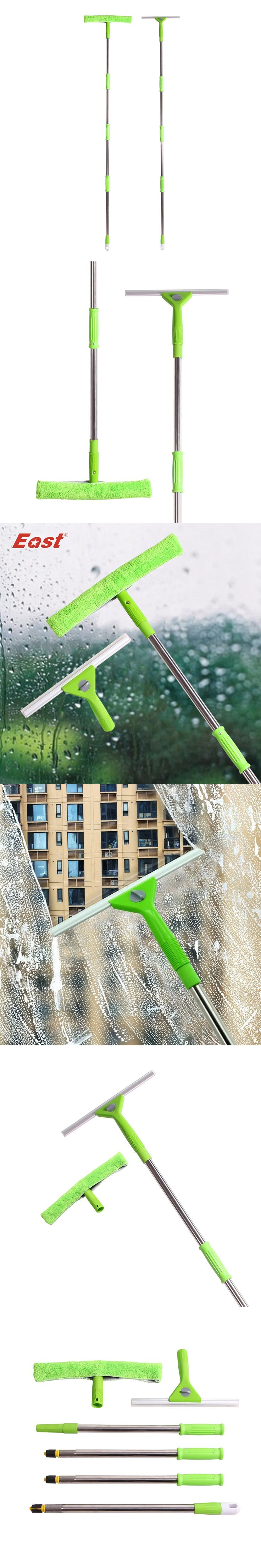 East  Changeable Dual-use natural silica gel microfiber Scraper Glass Brush window Cleaner