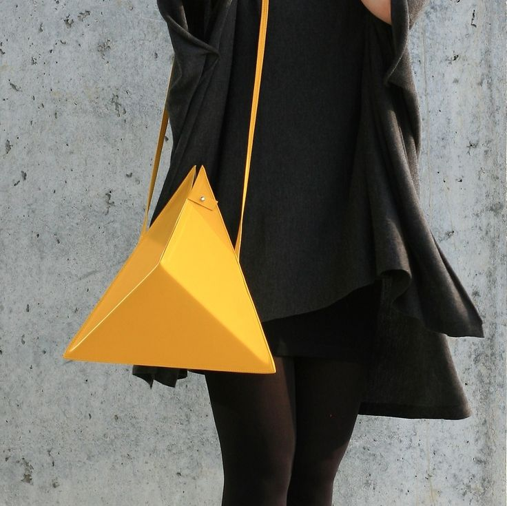 Triangle Bag | by IF irinaflorea | geometric | minimalist | leather | yellow  | https://www.facebook.com/irinafloreadesign/