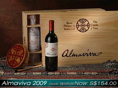 10/10/2014 Promotional Item: Almaviva 2009 - Now:S$154.00 The 2009 Almaviva is a blend of 73% Cabernet Sauvignon, 22% Carmenere, 4% Cabernet Franc and 1% Merlot and likewise, aged in new French oak for 18 months.