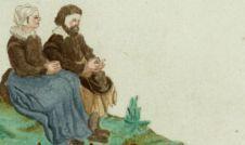 """Een bijzondere afbeelding staat bij een perceel in Wognum. Onder een boom zit een vriendelijk paartje, zij heeft een blauw schort aan en hij heeft zijn hoed op zijn schoot. In een kleine cartouche staat de hartverwarmende tekst: """"Vredsamich paer. Siet, hoe de eendracht soet twee harten bint tesaem, met blitschap, rust en vreed, dughdli[ck] Godt aengena[em]."""""""