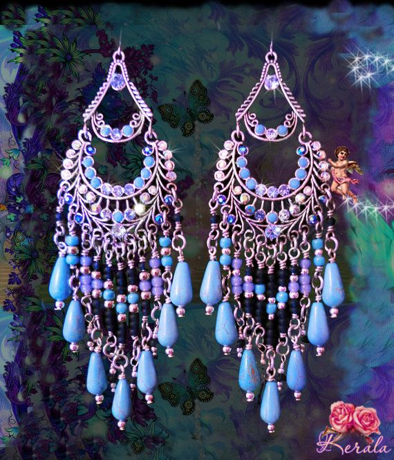 Long Blue and Silver Bohemian Chandelier Earrings, Large Beaded Turquoise Gemstone Earrings, Colorful Exotic Jewelry