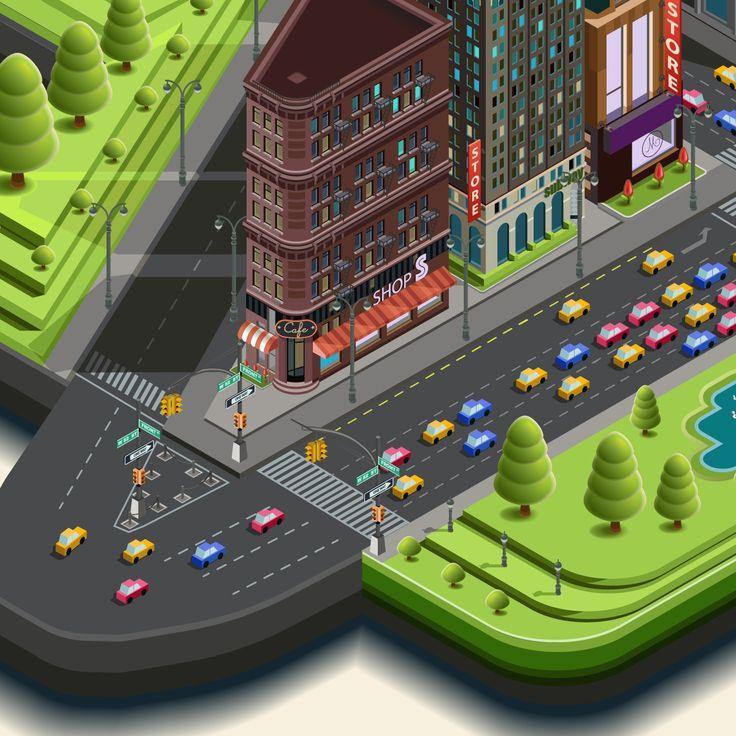 Isometric skyscraper. City map location. Сonstructor on Behance