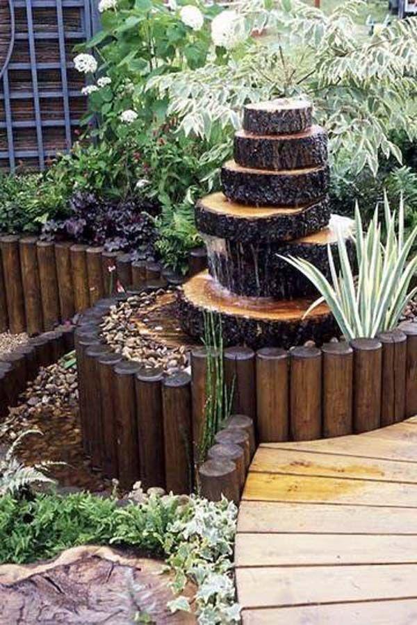 Build a Log or Wood Slice Fountain for Backyard