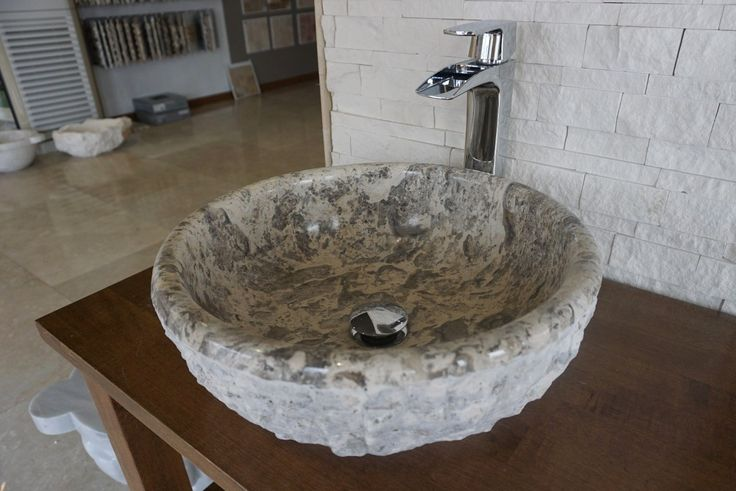 Atina Silver travertine Sink (DLT629) #travertinesink #sink #bathroomdesign #naturalstone