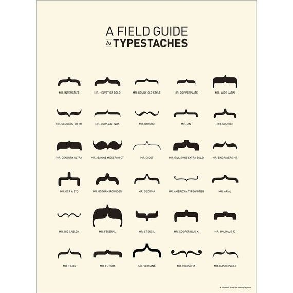 mustache!Fields Guide, Guide To, Whiskers, Graphics Design, Fonts, Typography, Posters, Mustaches, Typestach