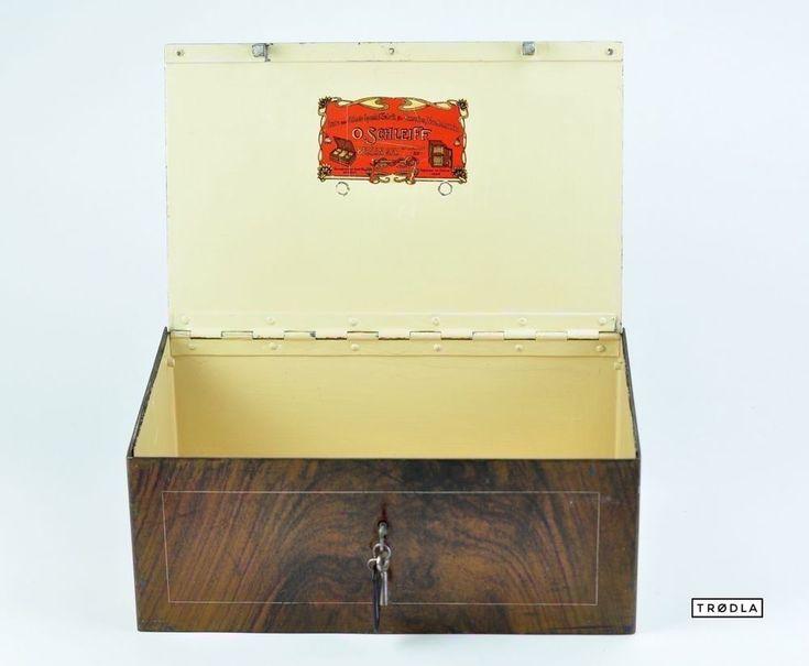 Geldkassette Jugendstil Tresor Stahl vintage art nouveau safe strongbox lockbox
