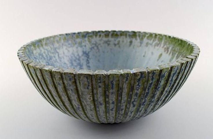Arne Bang Ceramics Bowl, Marked AB 123 2