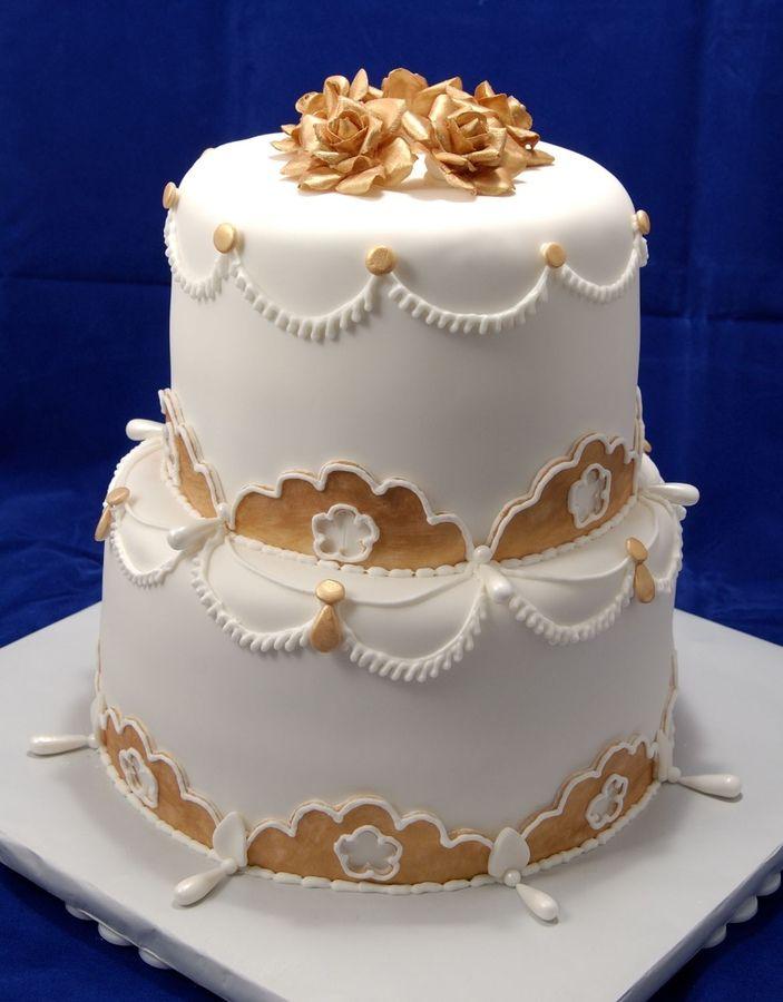 Elegant 50th Birthday Cakes Gold Roses 50th Birthday ...