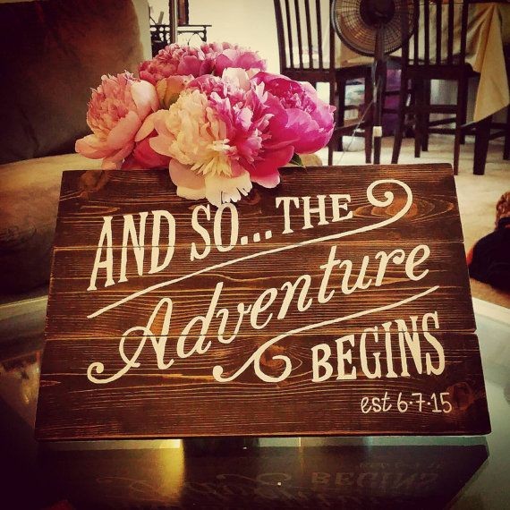 placed next to card box, to go along with the traveling?? - And So The Adventure Begins Plaque by corkaholics on Etsy