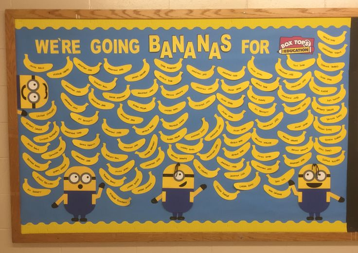 Box Tops for Education Minion Bulletin Board.  Each banana equals 10 Box Tops brought in by our students.  #boxtopsboard #btfe