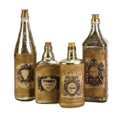 St 4 Vintage Retro Style Mercury Glass Elixir Bottles With Cork Stoppers Ebay