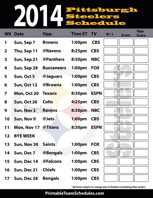 Pittsburgh Steelers 2014 Football Schedule | Print Pittsburgh Steelers Schedule