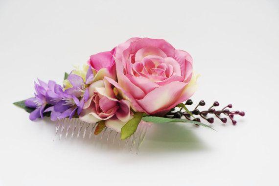 Vintage Hair Comb  Pink roses Purple by AliceThorWeddings on Etsy