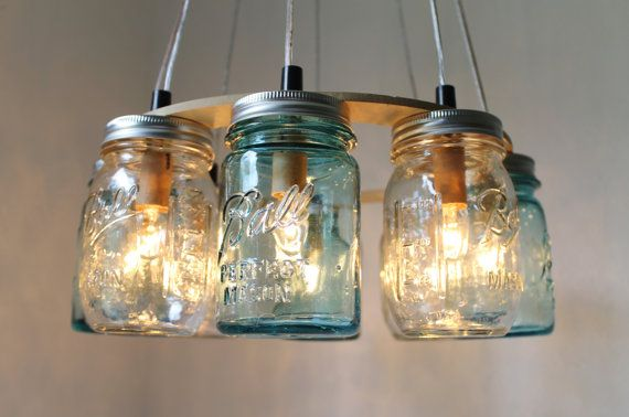 Beach House Mason Jar Chandelier - Upcycled Hanging Mason Jar Lighting Fixture Direct Hardwire - BootsNGus Lamps Rustic Home Decor. $275.00, via Etsy.