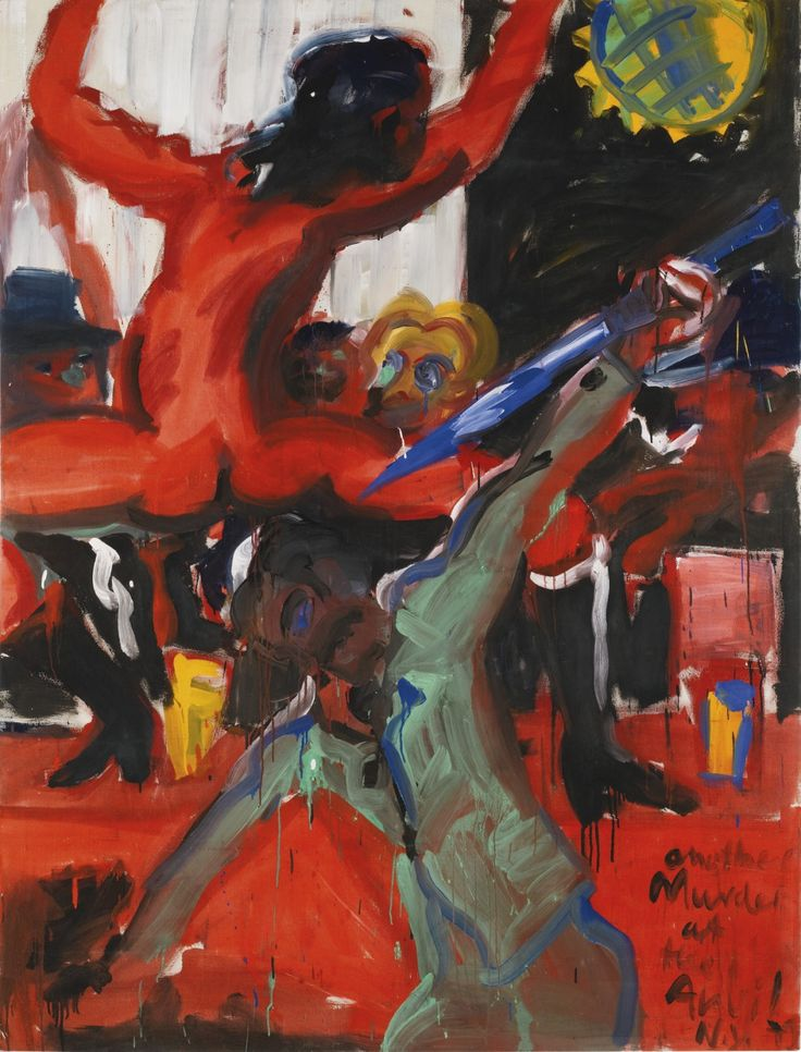 """thunderstruck9: """" Rainer Fetting (German, b. 1949), Another Murder at the Anvil, 1979. Acrylic on linen, 233 x 178 cm. """""""