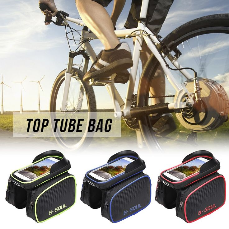 Bike Top Tube Phone Bag Bicycle Cycling Front Frame Bag Mobile Sales Online blue - Tomtop