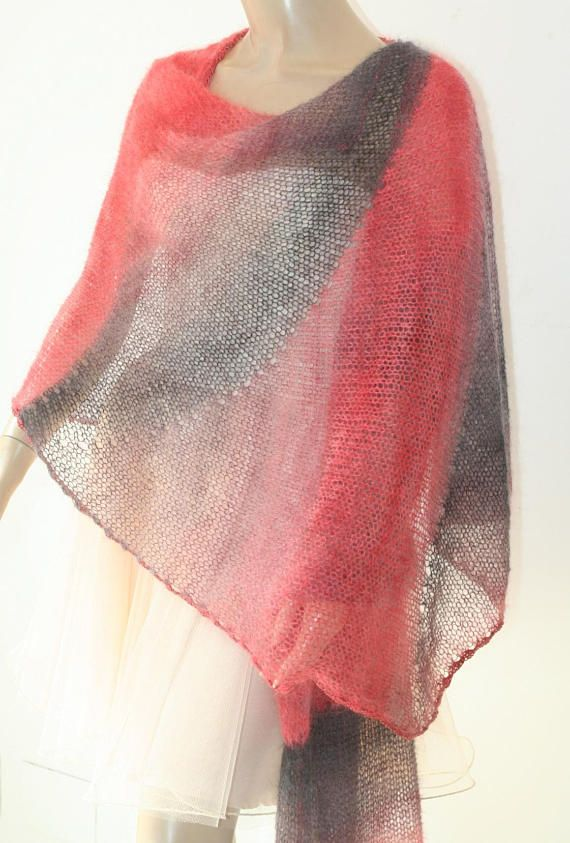 Red Grey Bridal ShawlCrochet Knit ShawlBridal BoleroRed