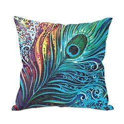 Peacock Tail Throw Pillow Cover $7.99 www.allthingspeacock.com - Peacock Throw Pillows