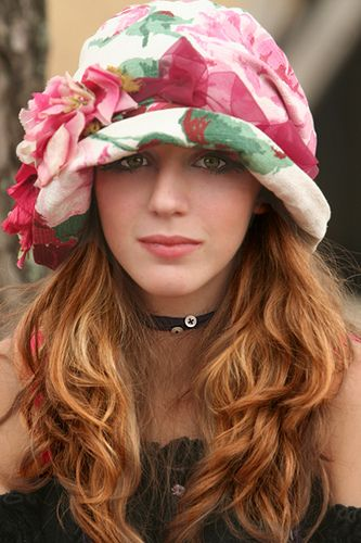 Pink, white, and green flowered hat http://findanswerhere.com/womenshats