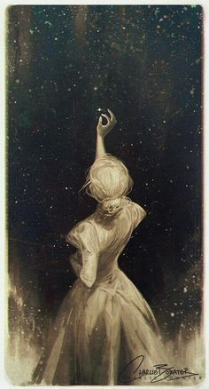 Charlie Bowater, The Old Astronomer, ink, unknown, 2016